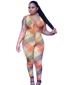 Sexy Women's Halter Sleeveless Print Front Bandage Bodycon Jumpsuit Club Romper