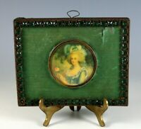 Antique 19c Miniature Hand Painted Portrait of a Young Lady a Green Dress