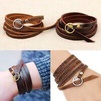 Women/Men Hot Sale Jewelry Personality Unisex Multilayer Wrap Leather Bracelet