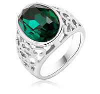 Emerald Green Oval Stone Hollow Silver Ring small medium size M / O 6/7 FR177
