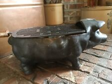 Tabletop Vintage Cast Iron Pig or Hog Small Outdoor Charcoal Grill Hibachi
