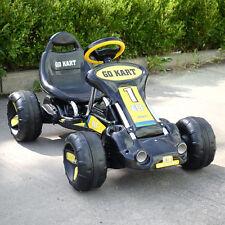 Black Go Kart 4 Wheel Kids Racer Ride Outdoor Stealth Pedal Powered Car Racer
