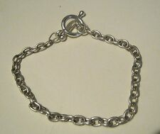 Great Silver tone metal bracelet chain linked with adjustable clasp
