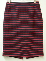 Ann Taylor 4 Navy Blue Red Skirt Striped Lined Straight Back Zip Small Womens