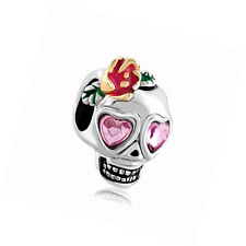 CandyCharms Skull Dia De Los Muertos Charms Rose Pink Crystal Beads For Bracelet