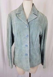 Wilsons Leather Maxima Blazer Jacket Womens L Green Full Button Up Piecework