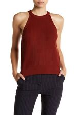 $295 NWT Theory Waxson Sleeveless Knit Tank Top Burnt Paprika Size Medium M