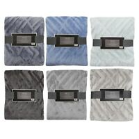 nEw TEXTURED SOLID COLOR THROW - 50x60 Blue Grey Microfiber Blanket