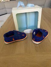 Ralph Lauren Baby Boy Crib Shoes UK Size 3.5 Royal Blue Orange RRP £45