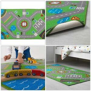 IKEA STORABO Childrens Play Rug Low Pile Kids Mat Cars Road Toys Map 133 x 75 cm