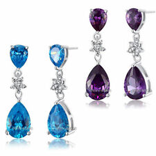 Butterfly Fastening Drop/Dangle Sapphire Fine Earrings