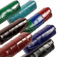 Genuine Eel Skin Women's Leather Lipstick Mirror Case Holder Button Purse Light