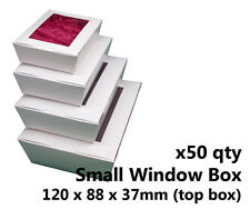 x50 SMALL WHITE WINDOW LID BOXES - for macarons, cookies, food, gift packaging