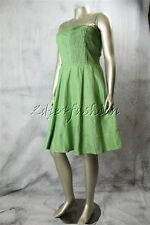 $995 New ARMANI COLLEZIONI Green Smocked Pleated Linen Dress 12 48