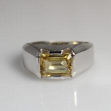 Natural Citrine Octagon Cut Gemstone 925 Sterling Silver Men's Designer Ring