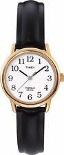 T20433 Timex Easy Reader Watch Womens White Dial Black Leather Strap T204339J