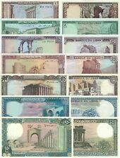Lebanon 7 Note Set: 1 5 10 20 50 100 250 Livres p61c to p67e (1983-1988) UNC