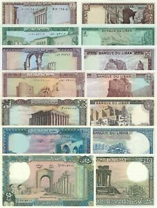 Lebanon 7 PCS Set: 1,5,10,20,50,100,250 Livres p61c to p67e (1983-1988) UNC