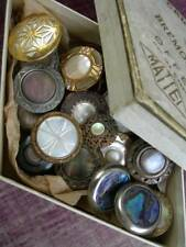 Collection 23 antique French metal & mother of pearl buttons in antique box