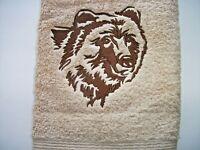 WOODLAND BEAR DESIGN EMBROIDERED, TAN HAND TOWEL