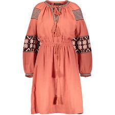 New ANTIK BATIK Designer Long Sleeve Embroidered Modi Dress Rust BrickRed UK8 XS
