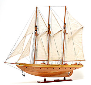 """Atlantic Yacht Wooden Topsail Schooner 36.5"""" Model 3 Masted Gaff Rigged New"""