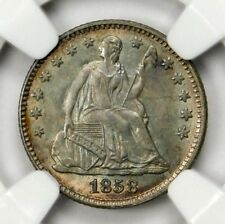 CAC NGC MS65 1858 SEATED HALF DIME