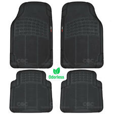 Car Floor Mat for 100% Odorless Motor Trend Clean Rubber Black Trimmable 4 Piece