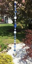 Healing Quartz Crystal Cats Eye Blue Prisms/Suncatcher W/Swarovski Elements USA