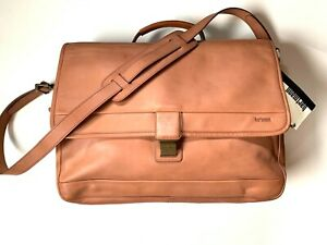 NWT Hartmann Soft Belting Leather Flap over Briefcase With Shoulder Strap