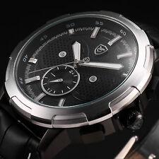 SHARK Luxury Mens Black Leather Dual Time Zone Quartz Date Day Wrist Sport Watch