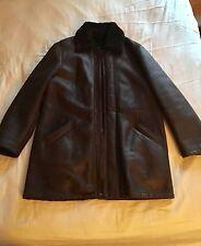 Trussardi Dark Brown Leather Shearling Fur Jacket Coat It 50 Large
