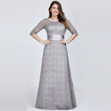 UK Ever-Pretty Lace Long Half Sleve Bridesmaid Evening Formal Party Dress 08878 Grey 16