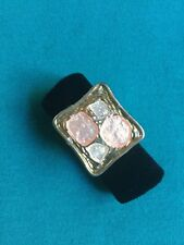 Beautiful Silver, Gold And Peach Tone Enamelled Ring