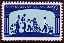AT FACE! #2153 SOCIAL SECURITY ACT. WHOLESALE LOT OF (100) MINT SINGLES F-VF NH!