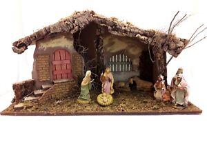 CAPANNA PRESEPE GRANDE IN LEGNO MUSCHIO E CORTECCIA decorazioni natalizie NATALE