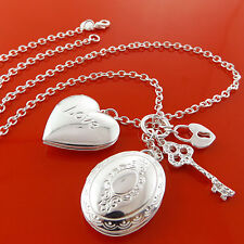 NECKLACE CHAIN 925 STERLING SILVER S/F KEY PADLOCK CHARM HEART & ANTIQUE LOCKET