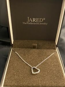 14k white gold JARED diamond heart pendant necklace. S. Africa gold.