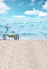 Seaside Beach Baby Photo Background Biycle Nature Backdrop Studio Prop Vinyl 5x7
