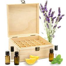 Essential Oil Storage Box Wooden Case 25 Grid Container Organizer Oil Display UK