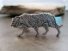 Handmade Oxidized Silver Plated Brass Tiger Tie Bar