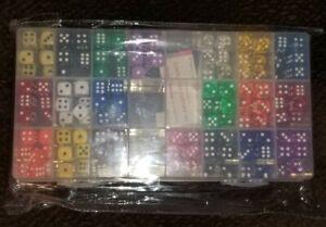 YOUSHARES 200 Pcs Multi-Color Dice Set  Storage Box Bundle 20 Assorted Colors