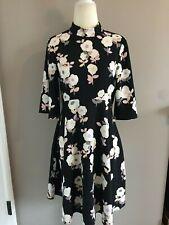 Kate Spade Size 0 Black Floral Fit & Flare Dress