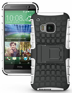 WHITE GRENADE GRIP RUGGED TPU SKIN HARD CASE COVER STAND FOR HTC ONE M9 PHONE