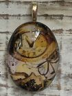 Steampunk Time Artisan Handcrafted Glass Pendant