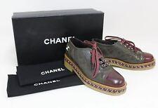 Chanel señoras acolchada Verde Oliva & Borgoña Cuero Con Cordones Zapatos EU37 UK4