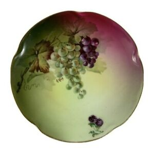 "Antique J C Louise Bavaria 6 1/4"" Gilt Gold Edge Decorative Plate Grapes Signed"
