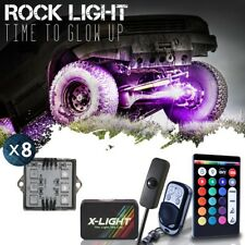 LED Rock Light Pods 8pc for Trucks Jeeps ATV Underglow with Brake & Music Mode