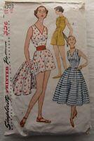 Vintage Playsuit &Skirt Sewing Pattern*Simplicity 4303*Size 20*CUT*Plus Size*50s