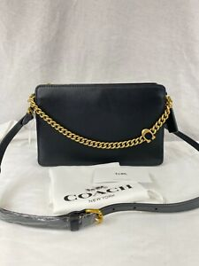 Coach Signature Chain Leather Crossbody in Black Gold MSRP $295
